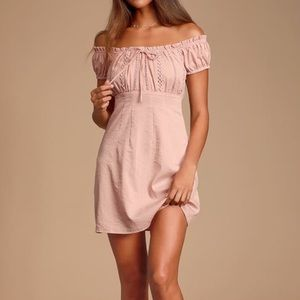 Lulu's blush off the shoulder dress